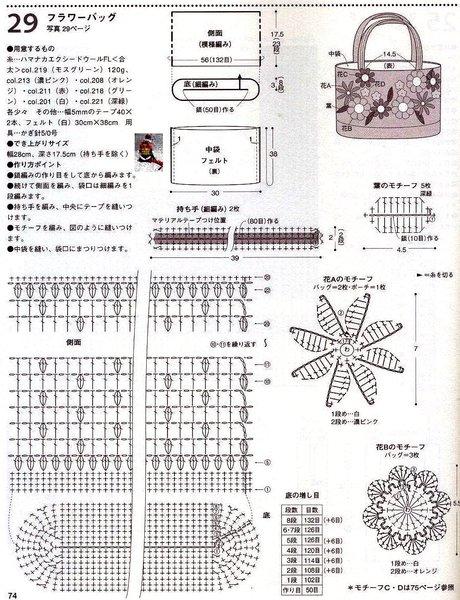 Схемы и вязанных сумок крючком схемы и описание