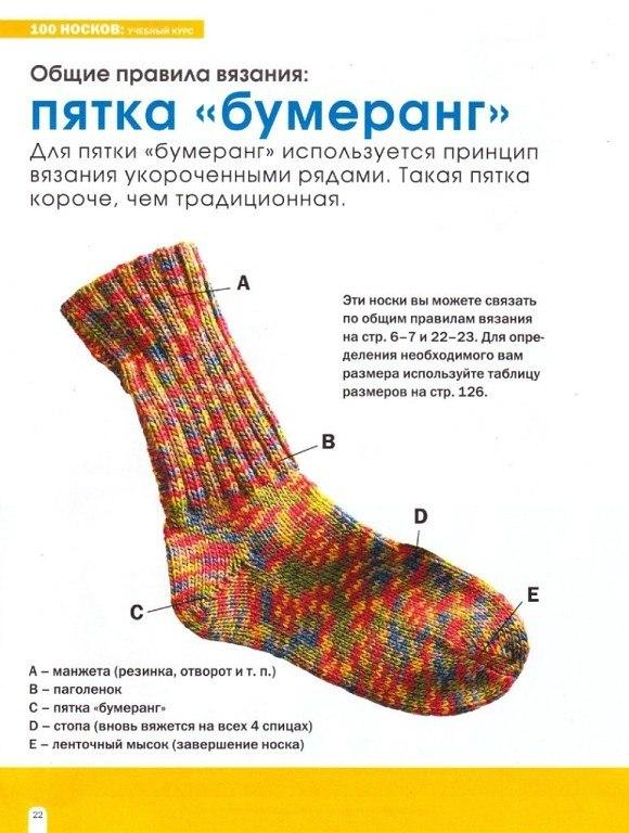 Вязание носков пятка 30
