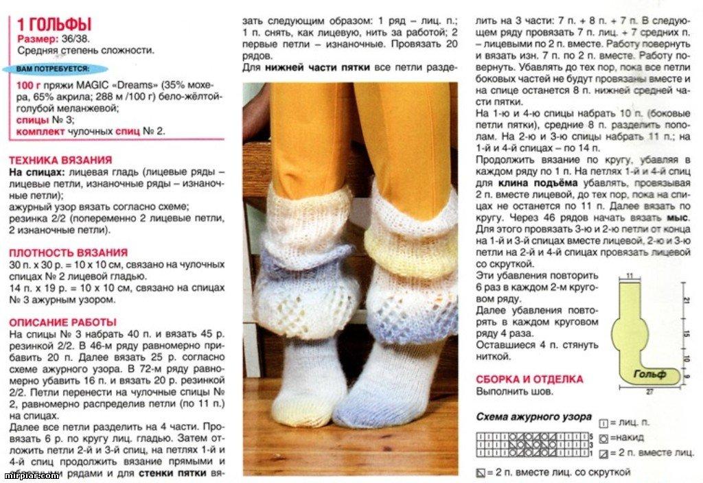 Носки спицами длинные схемы