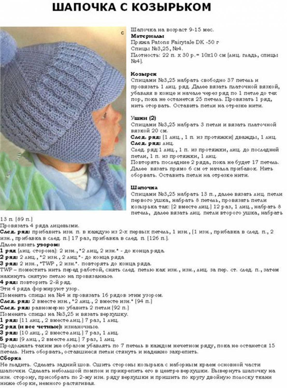 Вязание на спицах шапочка для ребенка 5