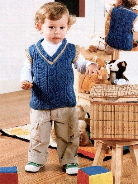 Вязания безрукавок спицами для мальчиков