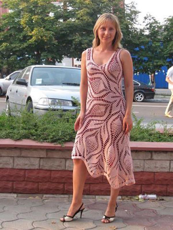 вязаные крючком женские платья схемы