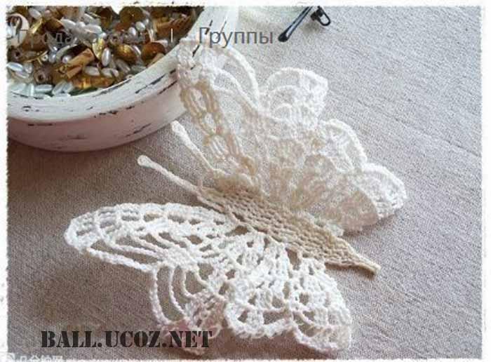 Вязание бабочек крючком со