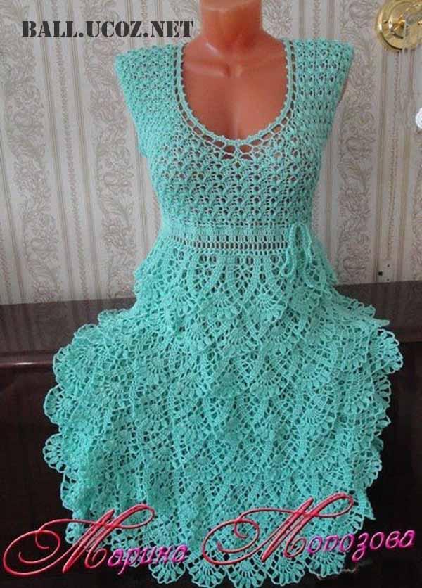 Вязанное платье крючком схема