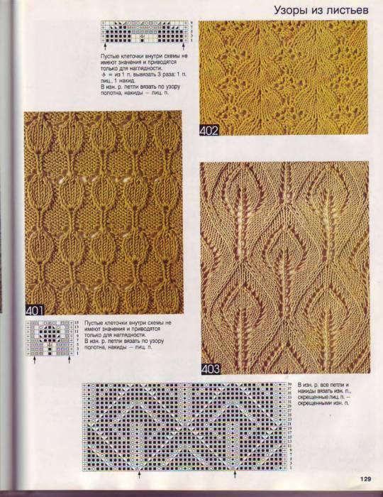 Схемы узоров из листочков спицами