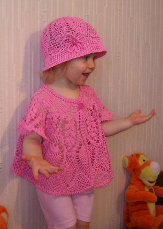 жакет и шляпка для девочки крючком со схемами детские костюмы