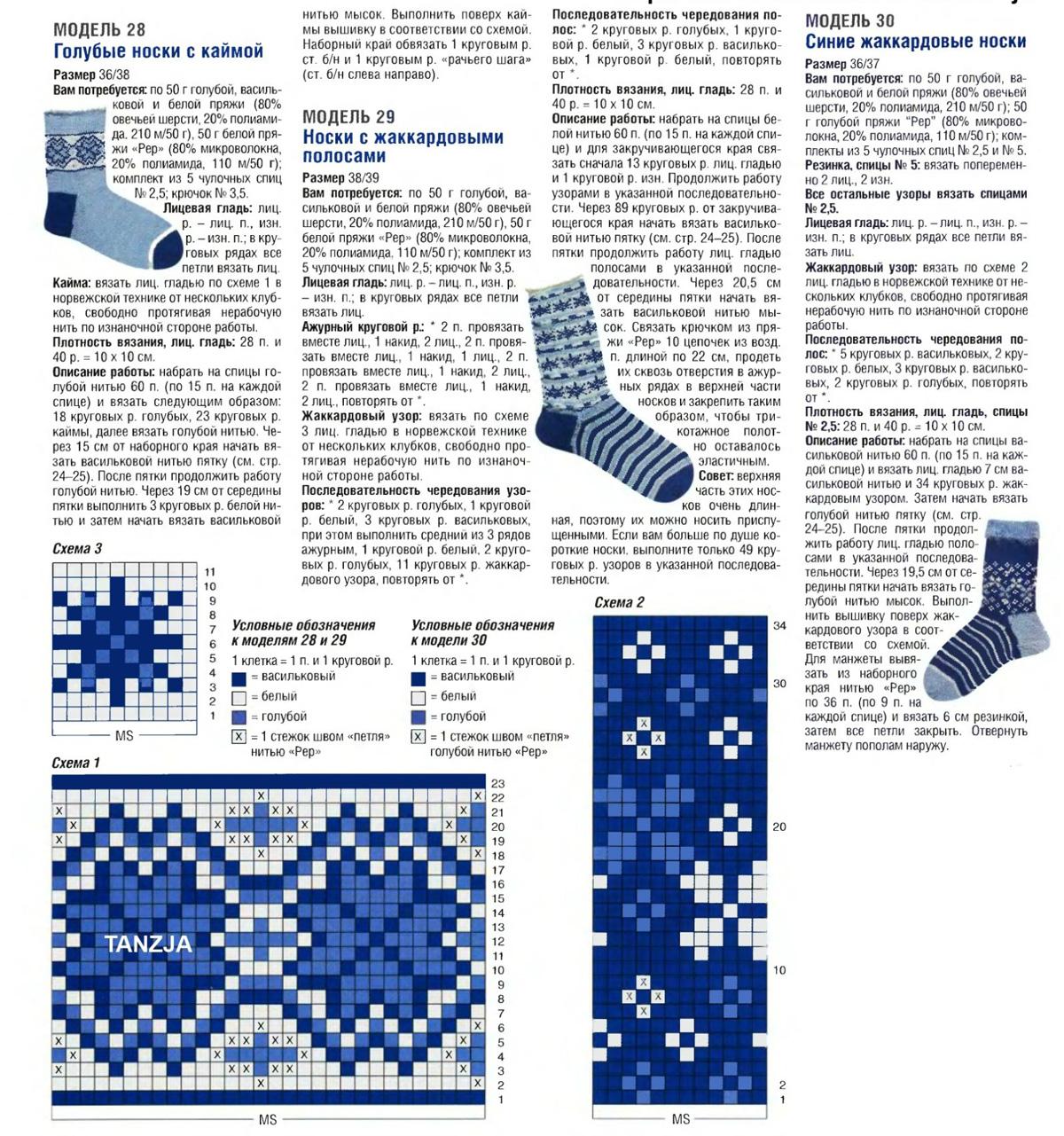 Красивые носки спицами с описанием фото схема