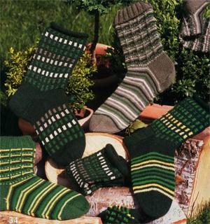 Вязание детских носочков простым способо на двух спицах.
