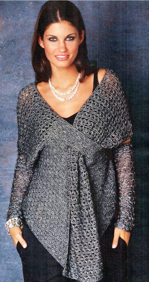 Вязанная блуза с запахом и