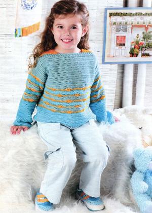 Вязание крючком джемпера для девочки 7 лет.