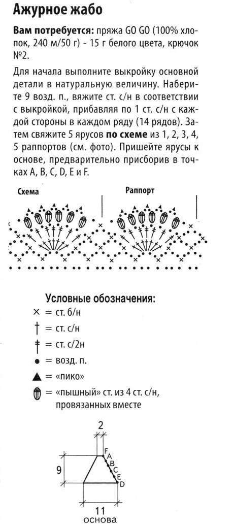 Схема вязания жабо крючком