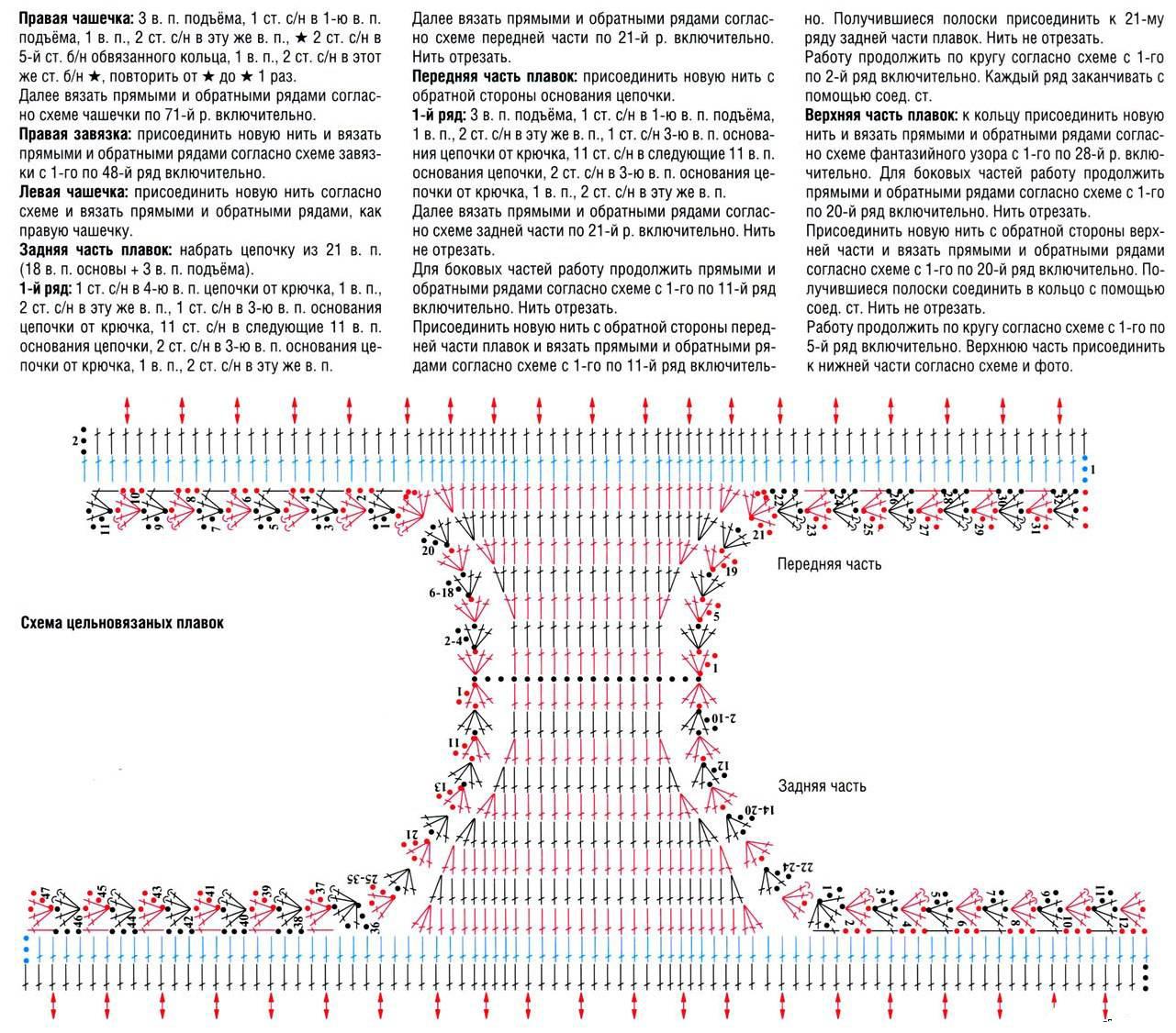 схема вязания крючком сплошных купальников купальники и прочее для