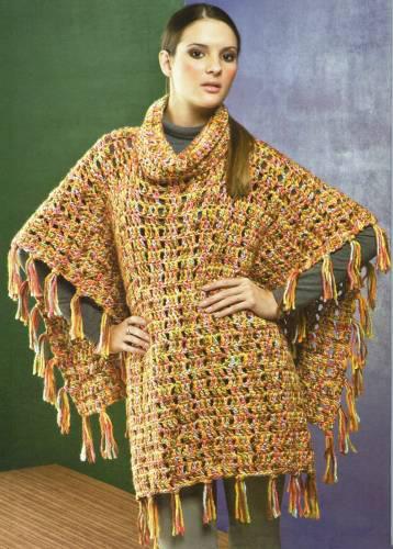 Схемы вязания. Вязанное пончо