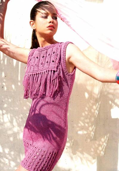 Платье вяжется спицами а схемы