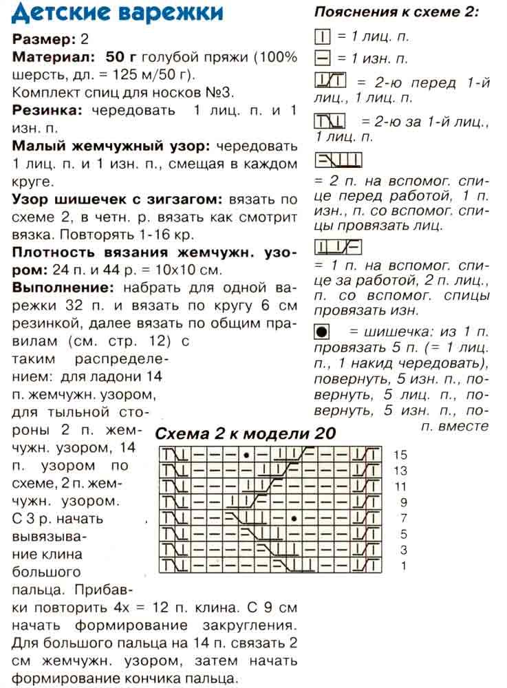 Таблица вязания детских варежек 78